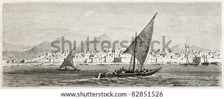 Jeddah old view, Saudi Arabia. Created by Girardet after Lejean, published on Le Tour du Monde, Paris, 1860 - stock photo