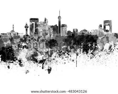 Jeddah skyline in black watercolor on white background