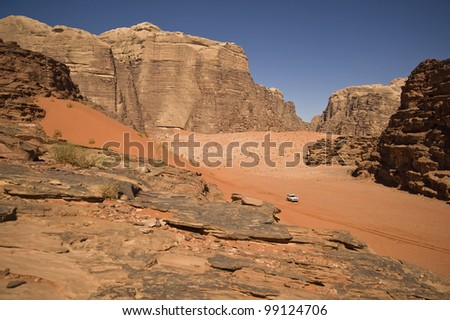 Jeep in Wadi Rum - stock photo