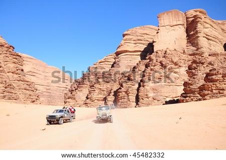 jeep safari at rum valley in Jordan - stock photo