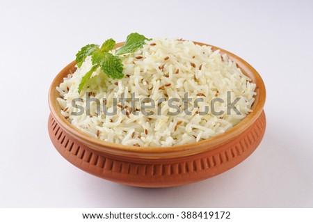 Jeera rice , basmati rice flavored with fried cumin seeds - stock photo
