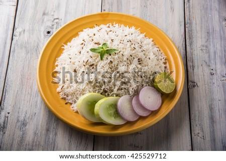 Jeera rice , basmati rice flavoured with fried cumin seeds  - stock photo