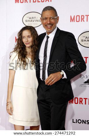 Jeff Goldblum and Emilie Livingston at the Los Angeles premiere of 'Mortdecai' held at the TCL Chinese Theater in Hollywood on January 21, 2015.  - stock photo