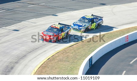 Jeff Gordon & Jimmy Johnson during the NASCAR race at Martinsville Va. - stock photo