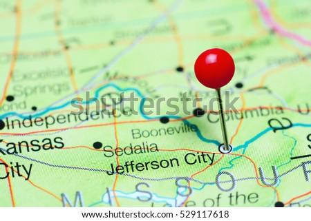 Jefferson City Pinned On Map Missouri Stock Photo (Royalty Free ...