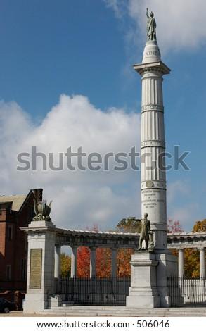Jefferson Davis President of the Confederate States - Monument in Richmond Virginia - stock photo