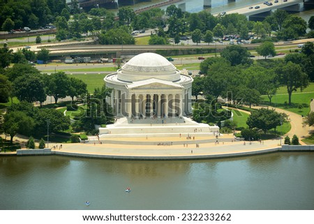 Jefferson Memorial Aerial View from the top of Washington Monument, Washington DC, USA - stock photo
