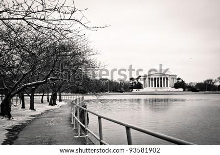 Jefferson Memorial along the Tidal Basin in Washington DC. - stock photo