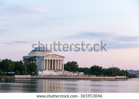 Jefferson memorial in evening