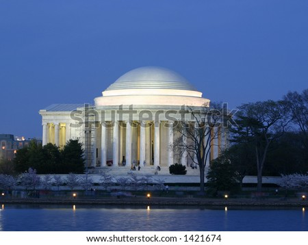Jefferson Memorial in Washington DC on a Spring evening