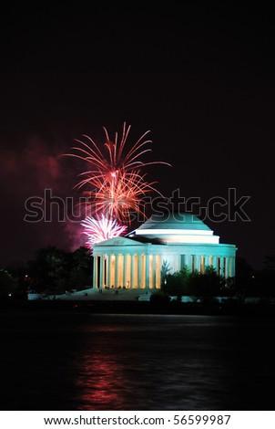 Jefferson memorial with fireworks in Washington DC. - stock photo