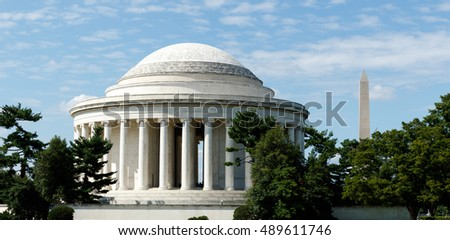 Jefferson Memorial with the Washington Monument in the background
