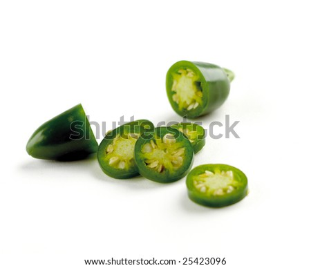 Jelapenos cut and isolated on white background - stock photo