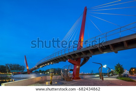 Jelgava, Bridge. New pedestrian cable-stayed bridge in Jelgava.
