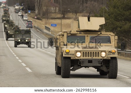 JELGAVKRASTI, LATVIA - MARCH 22, 2015: Demonstration of US army March 22, 2015 in Jelgavkrasti, Latvia - stock photo