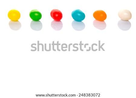 Jelly bean candy over white background
