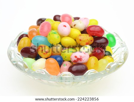 Jelly beans in a glass bowl