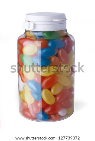 Jelly beans in bank on a white background