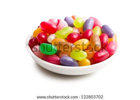 jelly beans in ceramic bowl - stock photo