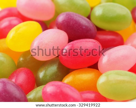 Jelly beans like gummy candy macro. - stock photo