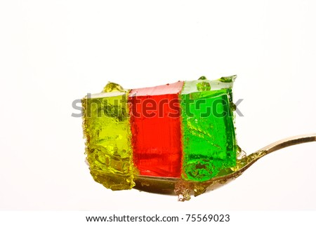 jelly colorful closeup on white background - stock photo