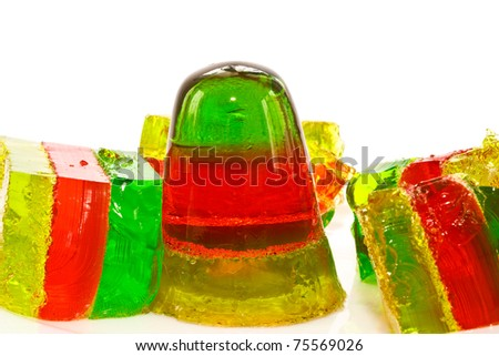 jelly colorful closeup on white background