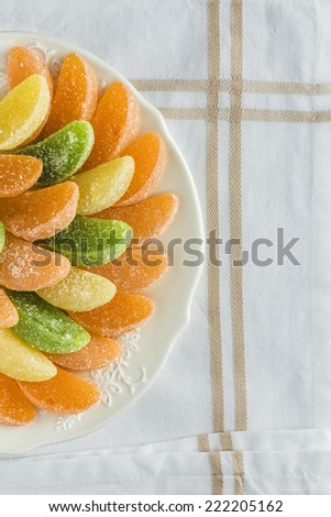 Jelly Fruit Candy on the table