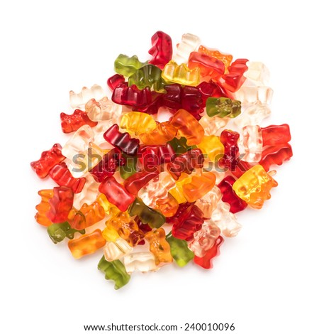 Jelly Gummy Bears Isolated On White - stock photo