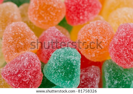Jelly sugar candies background.