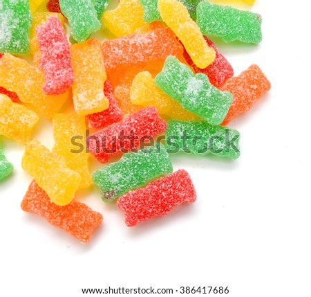 jelly sugar candies isolated on white background  - stock photo