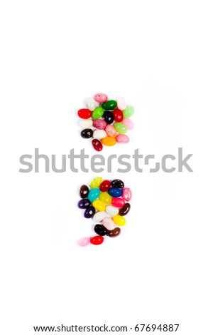 Jellybean alphabet on white background