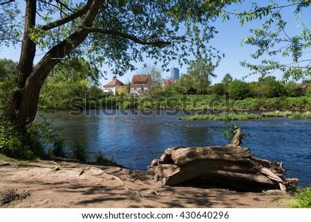 Jena im Frühling am Saaleufer - stock photo