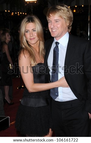 Jennifer Aniston and Owen Wilson   at Los Angeles Premiere of 'Marley and Me'. Mann Village Theater, Los Angeles, CA. 12-11-08 - stock photo