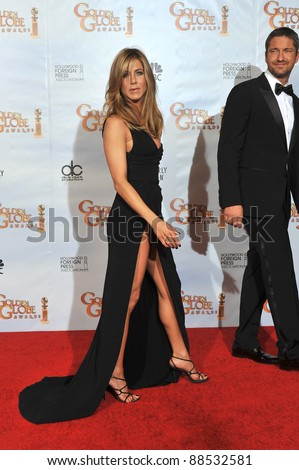 Jennifer Aniston & Gerard Butler at the 67th Golden Globe Awards at the Beverly Hilton Hotel. January 17, 2010  Beverly Hills, CA Picture: Paul Smith / Featureflash - stock photo