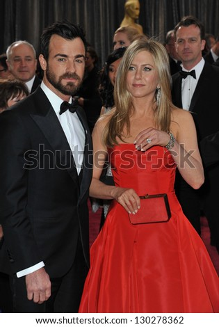 Jennifer Aniston & Justin Theroux at the 85th Academy Awards at the Dolby Theatre, Hollywood. February 24, 2013  Los Angeles, CA Picture: Paul Smith - stock photo