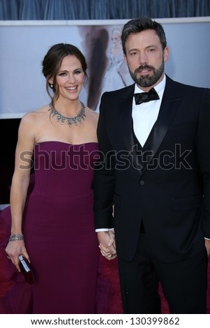 Jennifer Garner, Ben Affleck at the 85th Annual Academy Awards Arrivals, Dolby Theater, Hollywood, CA 02-24-13 - stock photo