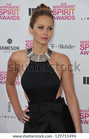 Jennifer Lawrence at the 2013 Film Independent Spirit Awards on the beach in Santa Monica. February 23, 2013  Santa Monica, CA Picture: Paul Smith - stock photo