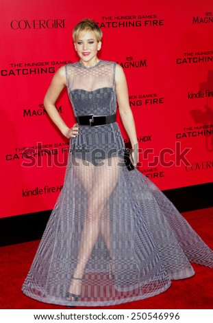 """Jennifer Lawrence at the Los Angeles Premiere of """"The Hunger Games: Catching Fire"""" held at the Nokia Theatre L.A. Live in Los Angeles on November 18, 2013.  - stock photo"""