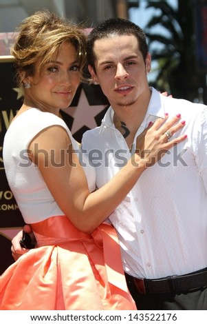 Jennifer Lopez and Casper Smart at the Jennifer Lopez Star on the Walk of Fame ceremony, Hollywood, CA 06-20-13 - stock photo
