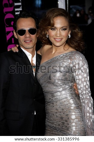 """Jennifer Lopez and Marc Anthony at the Los Angeles premiere of """"The Back-Up Plan"""" held at the Westwood Village Theater in Hollywood, USA on April 21, 2010. - stock photo"""