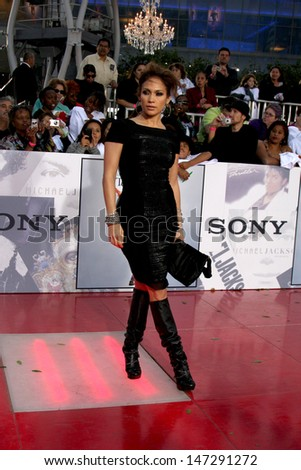 """Jennifer Lopez arriving at the """"This is It"""" Premiere Nokia Theater at LA Live Los Angeles,   CA October 27, 2009 - stock photo"""