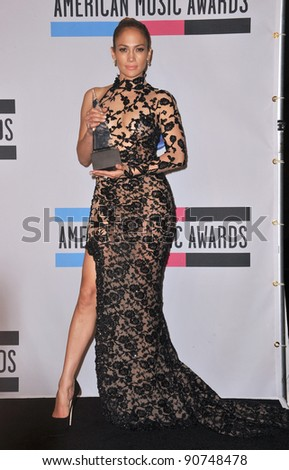 Jennifer Lopez at the 2011 American Music Awards at the Nokia Theatre L.A. Live in downtown Los Angeles. November 20, 2011  Los Angeles, CA Picture: Paul Smith / Featureflash - stock photo