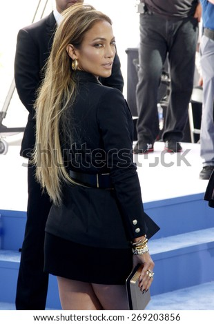 Jennifer Lopez at the 2015 MTV Movie Awards held at the Nokia Theatre L.A. Live in Los Angeles, USA on April 12, 2015. - stock photo