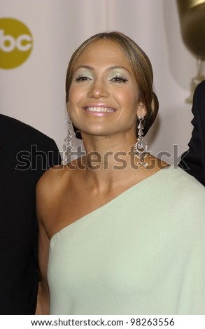 JENNIFER LOPEZ at the 75th Annual Academy Awards at the Kodak Theatre, Hollywood. March 23, 2003 - stock photo