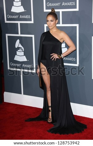 Jennifer Lopez at the 55th Annual GRAMMY Awards, Staples Center, Los Angeles, CA 02-10-13 - stock photo