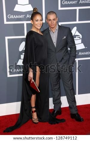 Jennifer Lopez, Casper Smart at the 55th Annual GRAMMY Awards, Staples Center, Los Angeles, CA 02-10-13 - stock photo