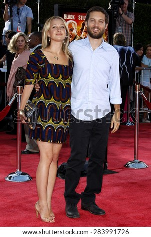 Jennifer Meyer and Tobey Maguire at the Los Angeles premiere of 'Tropic Thunder' held at the Mann Village Theater in Westwood on August 11, 2008.