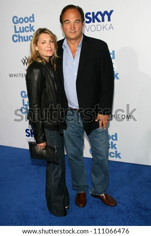 """Jennifer Sloan and Jim Belushi at the Los Angeles Premiere of """"Good Luck Chuck"""". Mann National Theater, Westwood, CA. 09-19-07 - stock photo"""