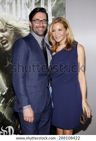 Jennifer Westfeldt and Jon Hamm at the Los Angeles premiere of 'Sucker Punch' held at the Grauman's Chinese Theater in Hollywood on March 23, 2011. - stock photo
