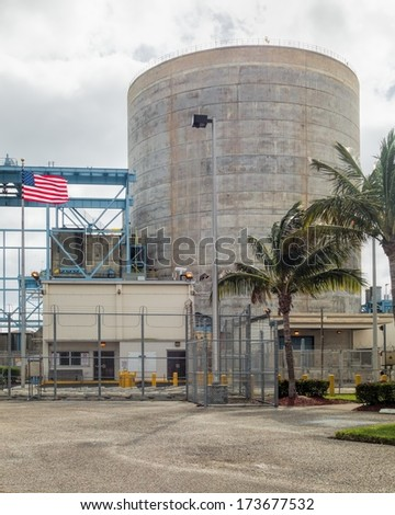 JENSEN BEACH, FLORIDA- January 03, 2014:  The St. Lucie Nuclear Power Plant  is operational since 1976. These reactors are cooled with ocean water. There are 101 reactors in the US at 65 locations. - stock photo